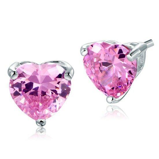 4 karátos ezüst fülbevaló szív alakú szintetikus pink gyémánt kristállyal - 925 ezüst ékszer