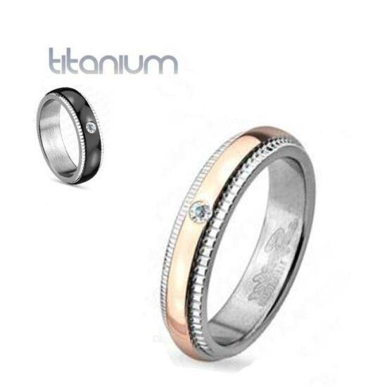 4 mm - Arany és ezüst színű cirkónia kristályos nemesacél gyűrű-5