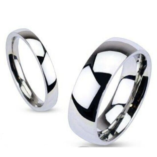 4 mm - Ezüst színű, tükörfényes nemesacél gyűrű