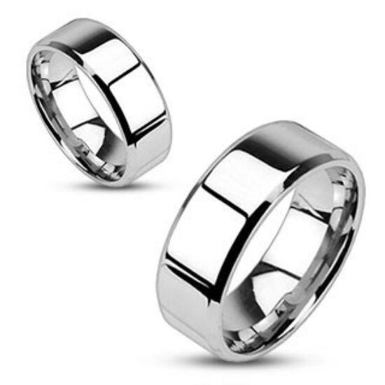 4 mm - Tükör fényes, ezüst színű nemesacél gyűrű ékszer