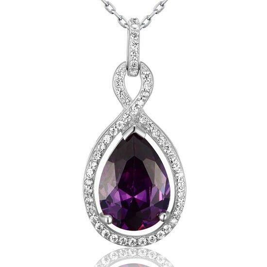 5 karátos csepp alakú lila zafír nyaklánc - 925 ezüst ékszer