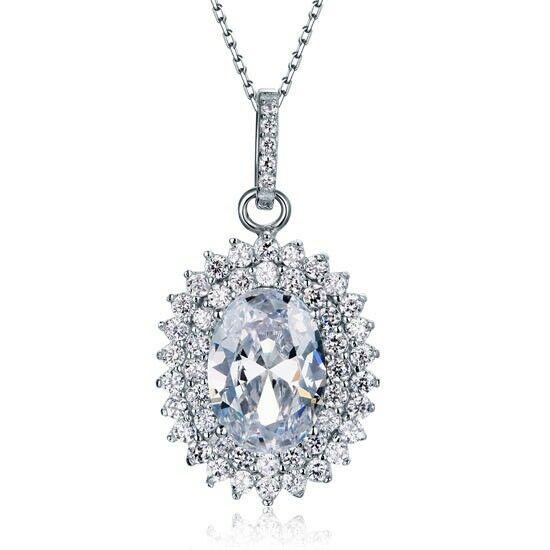6 karátos ovális alakú gyémánt nyaklánc - 925 ezüst ékszer