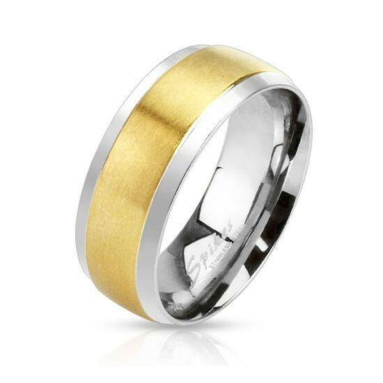 6 mm - Arany és ezüst színű nemesacél karikagyűrű-5