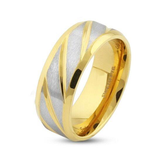 6 mm - Átlósan csíkos, arany és ezüst színű nemesacél gyűrű ékszer