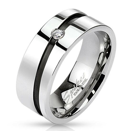 6 mm - Ezüst színű nemesacél gyűrű ékszer, cirkónia kristállyal
