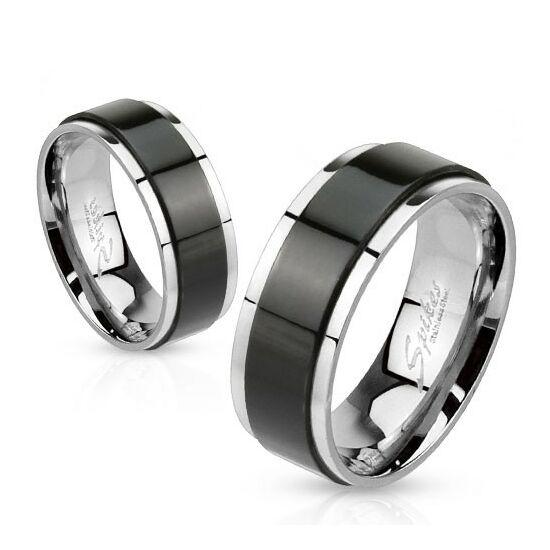 6 mm - Fekete csíkos nemesacél karikagyűrű-5