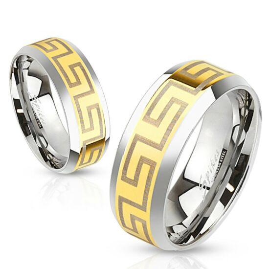 8 mm - Arany és ezüst színű nemesacél karikagyűrű görög mintázattal-9