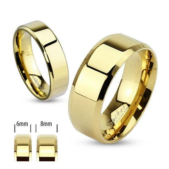 8 mm - Arany színű, lapos szélű nemesacél gyűrű ékszer