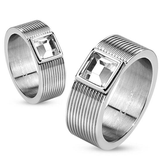 8 mm - Ezüst színű nemesacél karikagyűrű cirkónia kristállyal-12