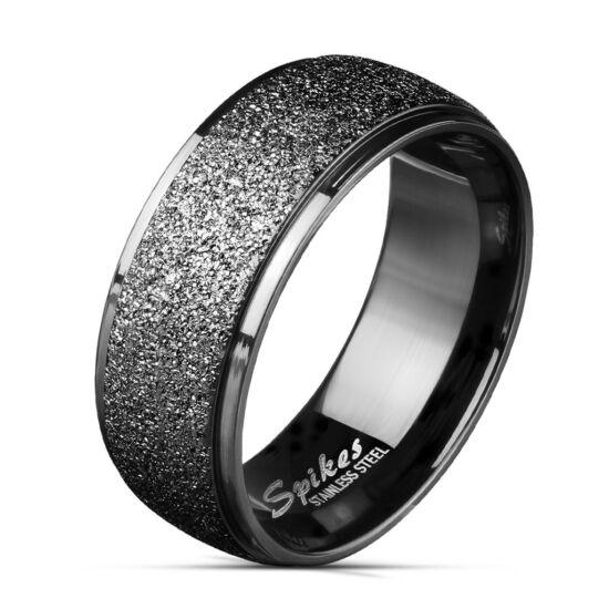 8 mm - Fekete színű homokfújt nemesacél karikagyűrű-9