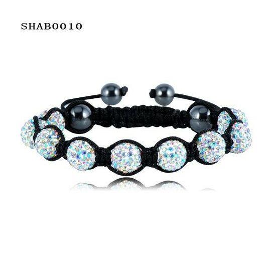 9 kristály gömbös shamballa karkötő - multi