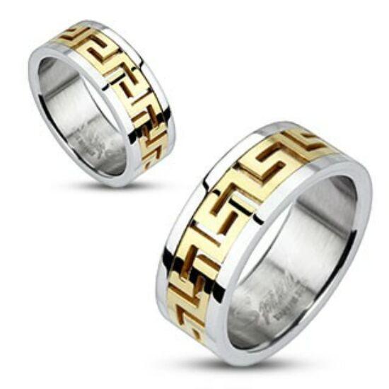 9 mm - Arany és ezüst színű, görög mintás nemesacél gyűrű ékszer-11