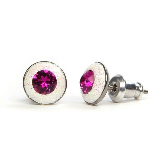 Apró Swarovski® kristályos nemesacél fülbevaló - Fuchsia