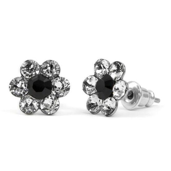 Apró virágos Swarovski® kristályos nemesacél fülbevaló - fehér-fekete