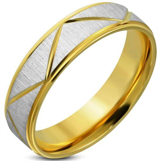 Arany és ezüst színű barázdált nemesacél gyűrű ékszer