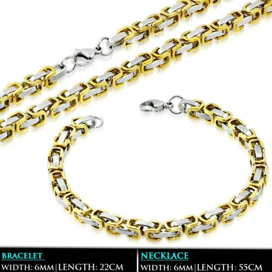 Arany és ezüst színű bizánci nemesacél nyaklánc és karlánc ékszer szett
