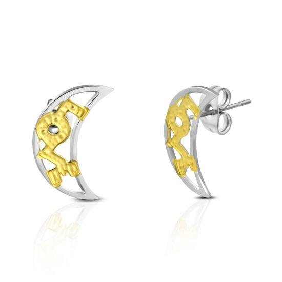 Arany és ezüst színű, hold alakú nemesacél fülbevaló ékszer, LOVE felirattal