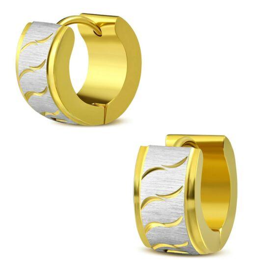 Arany és ezüst színű, hullám mintás nemesacél karika fülbevaló