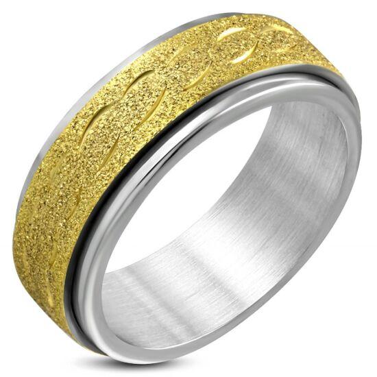 Arany és ezüst színű, középen forgó homokfújt nemesacél gyűrű-4