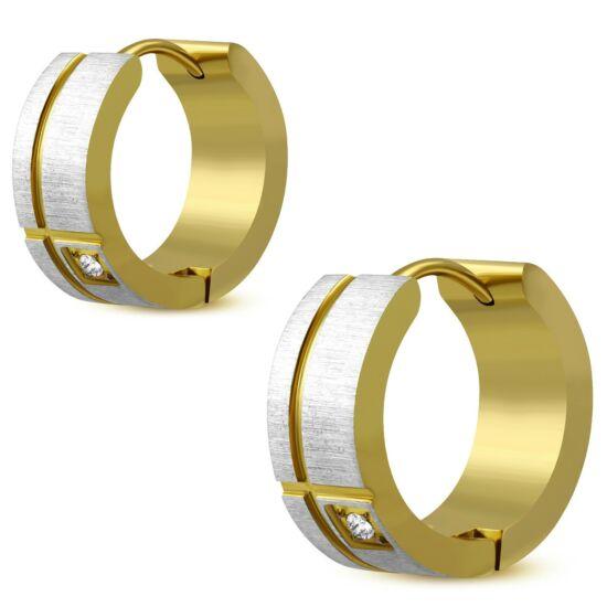 Arany és ezüst színű nemesacél fülbevaló ékszer, cirkónia kristállyal díszítve