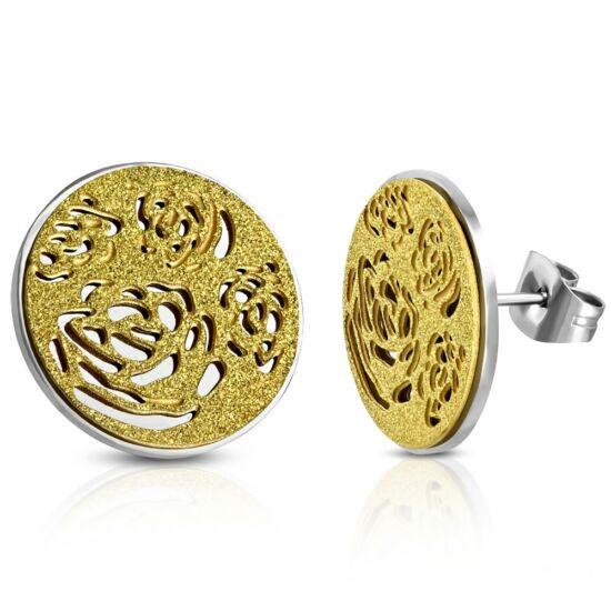 Arany és ezüst színű nemesacél fülbevaló ékszer, homokfújt rózsa mintával