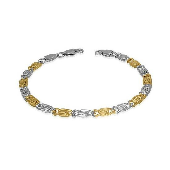 Arany és ezüst színű nemesacél karlánc ékszer