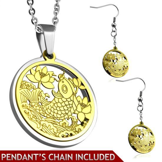 Arany és ezüst színű nemesacél medál és fülbevaló szett, lótuszvirág és hal mintás