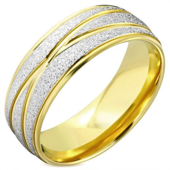 Arany és ezüst színű, X mintájú, homokfújt nemesacél gyűrű ékszer