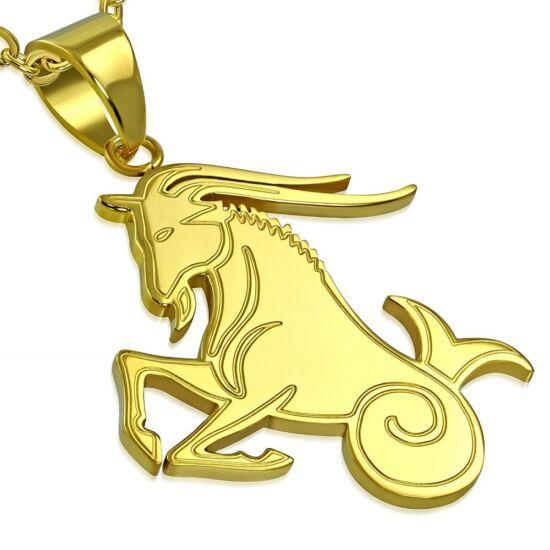 Arany színű, bak horoszkóp nemesacél medál ékszer