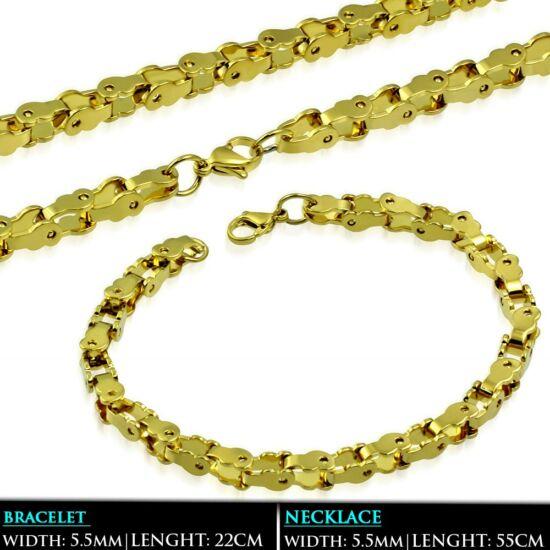 Arany színű bizánci nemesacél nyaklánc és karlánc ékszer szett