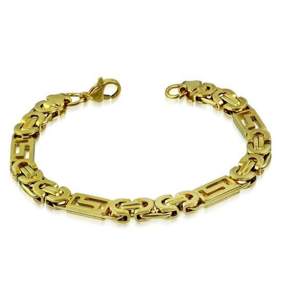 Arany színű, bizánci stílusú nemesacél karlánc ékszer