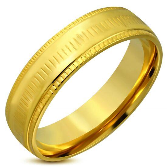 Arany színű, bordázott szélű nemesacél gyűrű ékszer