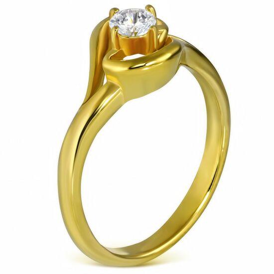 Arany színű cirkónia köves nemesacél gyűrű-4,5