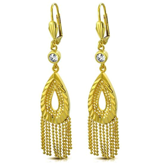 Arany színű, csepp formájú, lánccal díszített nemesacél fülbevaló ékszer, cirkónia kristállyal