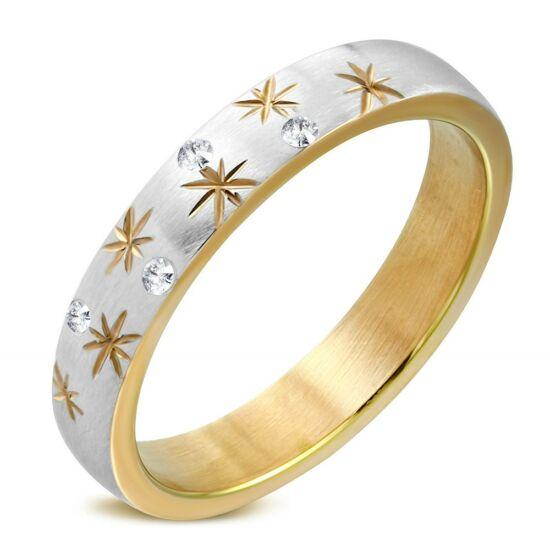 Arany színű, csillag mintás nemesacél gyűrű ékszer, cirkónia kristállyal