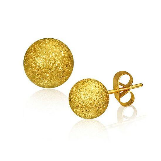 Arany színű gömb alakú nemesacél fülbevaló