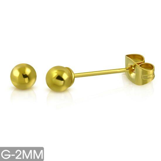 Arany színű, gömb alakú nemesacél fülbevaló ékszer