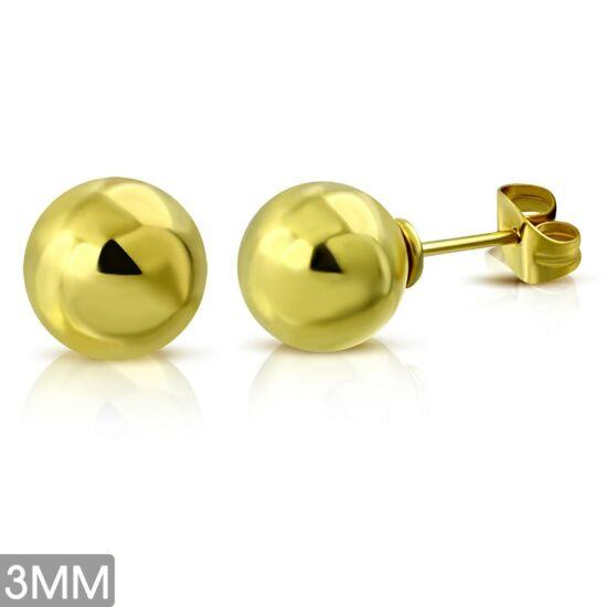 Arany színű gömb nemesacél fülbevaló