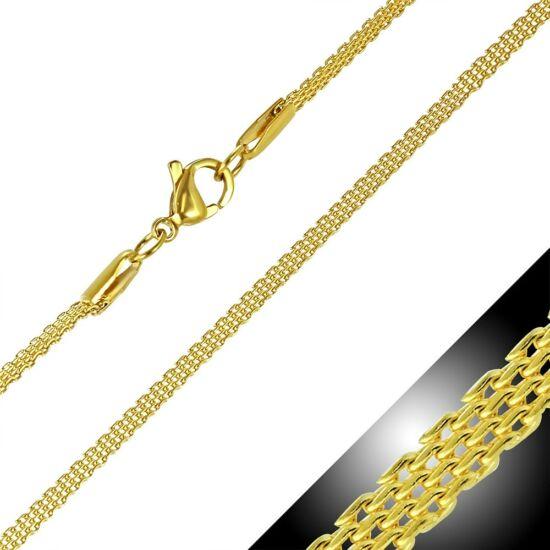 Arany színű, lapos szövésű nemesacél nyaklánc ékszer