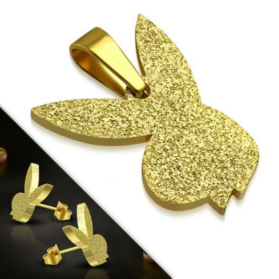 Arany színű nemesacél ékszerszett, Playboy nyuszis - medál és fülbevaló