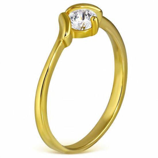 Arany színű nemesacél gyűrű cirkónia kristállyal-4,5