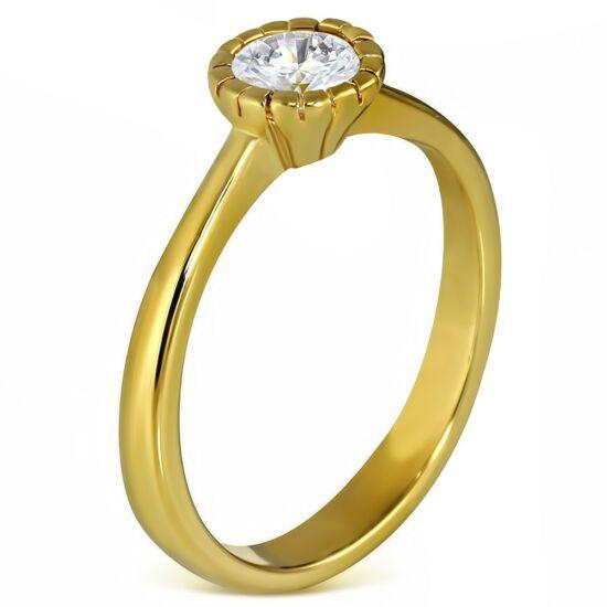Arany színű nemesacél gyűrű cirkónia kristállyal-5
