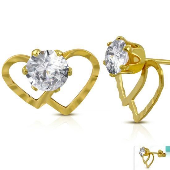 Arany színű, páros szív, cirkónia kristályos nemesacél fülbevaló ékszer