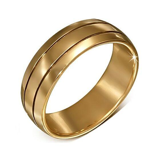 Aranyszínű csíkozott nemesacél gyűrű ékszer