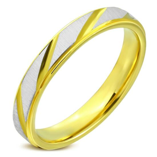 Átlósan csíkos, arany és ezüst színű nemesacél gyűrű ékszer