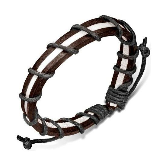 Barna/fehér bőr és fonott karkötő
