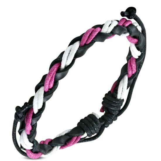 Barna,fehér és rózsaszín fonott  bőr karkötő