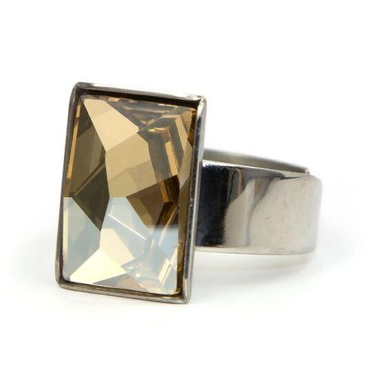 Caroling Swarovski® kristályos nemesacél gyűrű - Golden Shadow