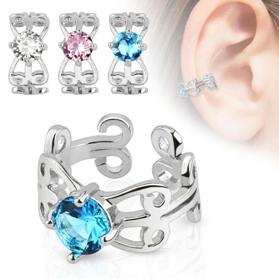Cirkónia kristályos fülékszer - rózsaszín