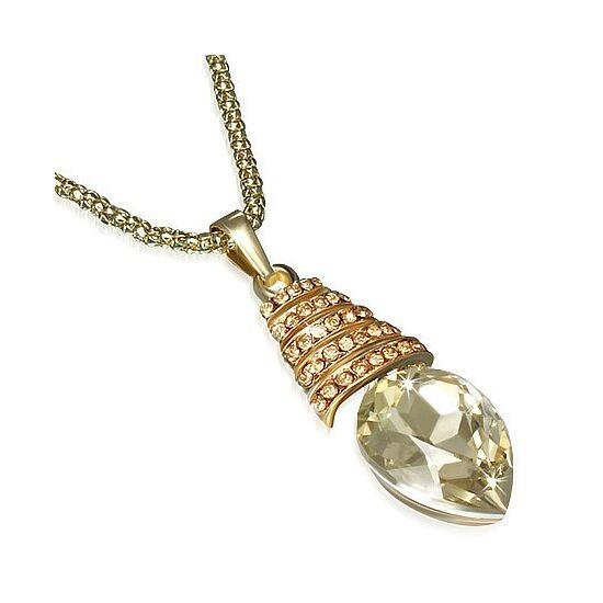 Csepp alakú kristállyal ékesített arany színű nyaklánc